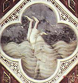 Jonah swallowed by the whale, detail from a fresco by Giotto (c. 1305), Scrovegni Chapel, Padua Italy