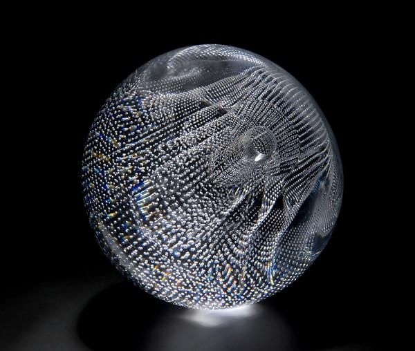 Moire matrix 5 : seam, Shelley James, May 2012, Blown by Liam Reeves, 20 x 20 x 20cm, hot glass Image by Ester Segarra © 2012 Ester Segarra