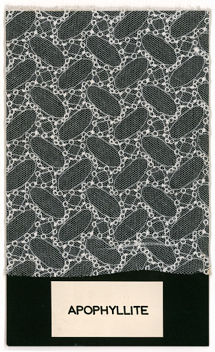 Sample of white lace with apophyllite pattern, mounted on black card. Produced by the Festival Pattern Group for the 1951 Festival of Britain, Designed by H. Webster for A.C. Gill, based on a diagram by W.L. Bragg transcribed by Helen Megaw. Science Museum/Science & Society Picture Library