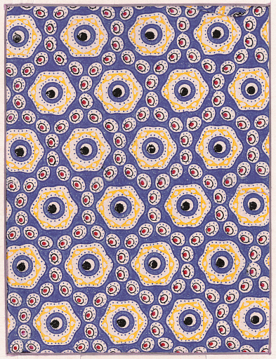 Wrapping paper with pattern based on the structure of haemoglobin, produced by the Festival Pattern Group, 1951. Designed by W. Farquhar for Spicers Ltd. from a diagram  by crystallography Max Perutz transcribed by Helen Megaw